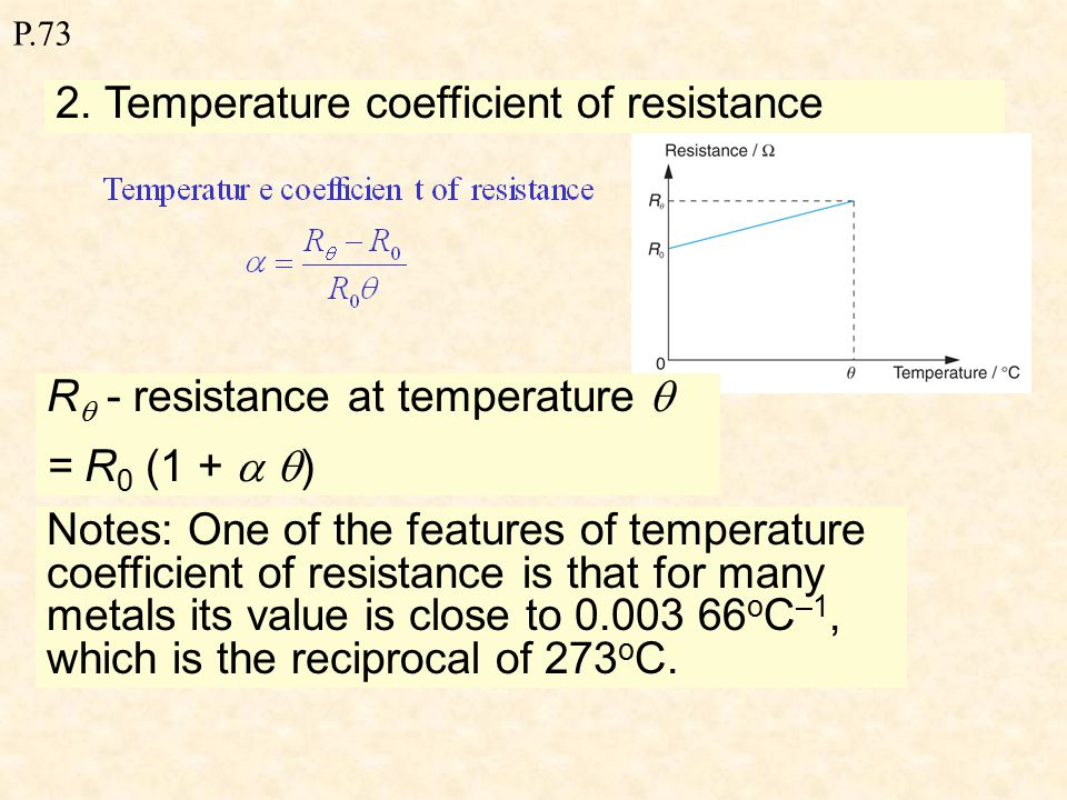 P.73 Effect of temperature on resistance 1.