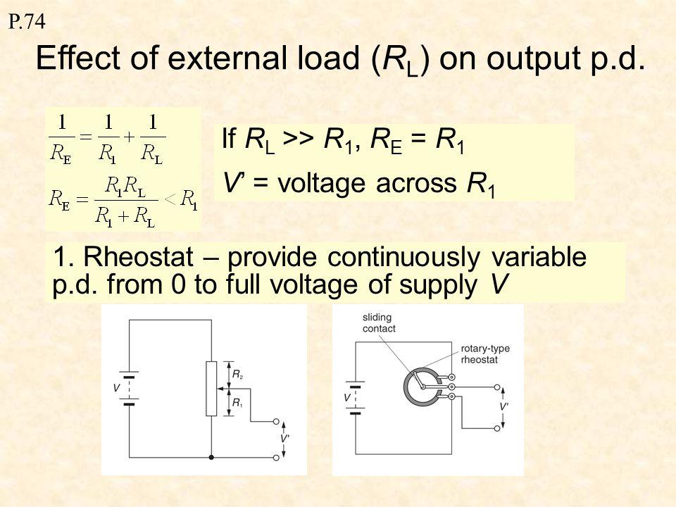 P.74 Potential Divider R2R2 R1R1 A C VoVo V out