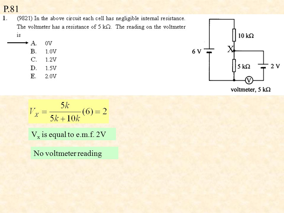 P.81 Second Law (Voltage Law) (Optional) Round a closed loop, the algebraic sum of the e.m.f.s is equal to the algebraic sum of the products of the current and resistance.