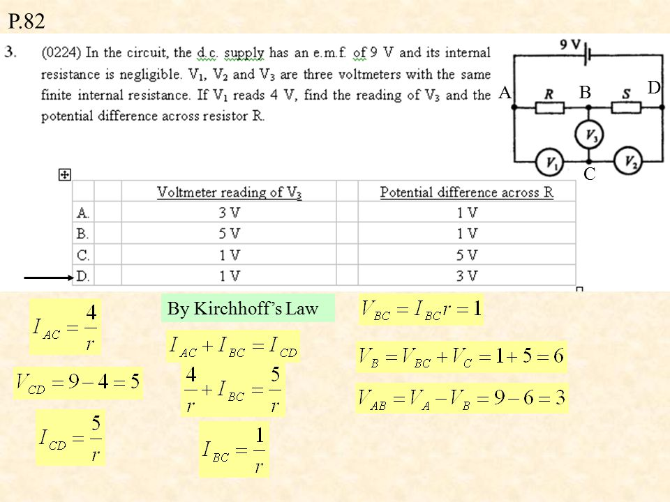 P.82 V A – V C = (0.1)(1) = 0.1 0.1A A B C V A – V B = (0.2)(5) = 1 If V C > V B, current flows from C to B.