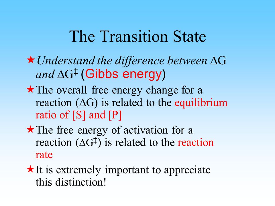 The transition state is not an intermediate species The transition state cannot be trapped or isolated.