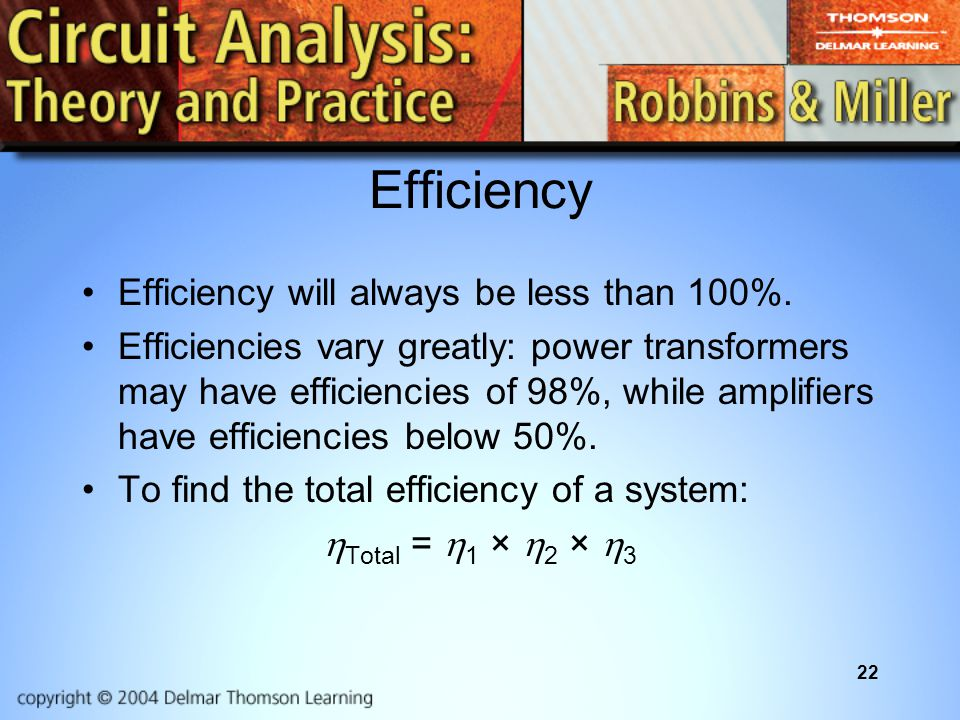 22 Efficiency Efficiency will always be less than 100%.