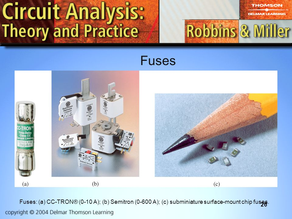 26 Fuses: (a) CC-TRON® (0-10 A); (b) Semitron (0-600 A); (c) subminiature surface-mount chip fuses.