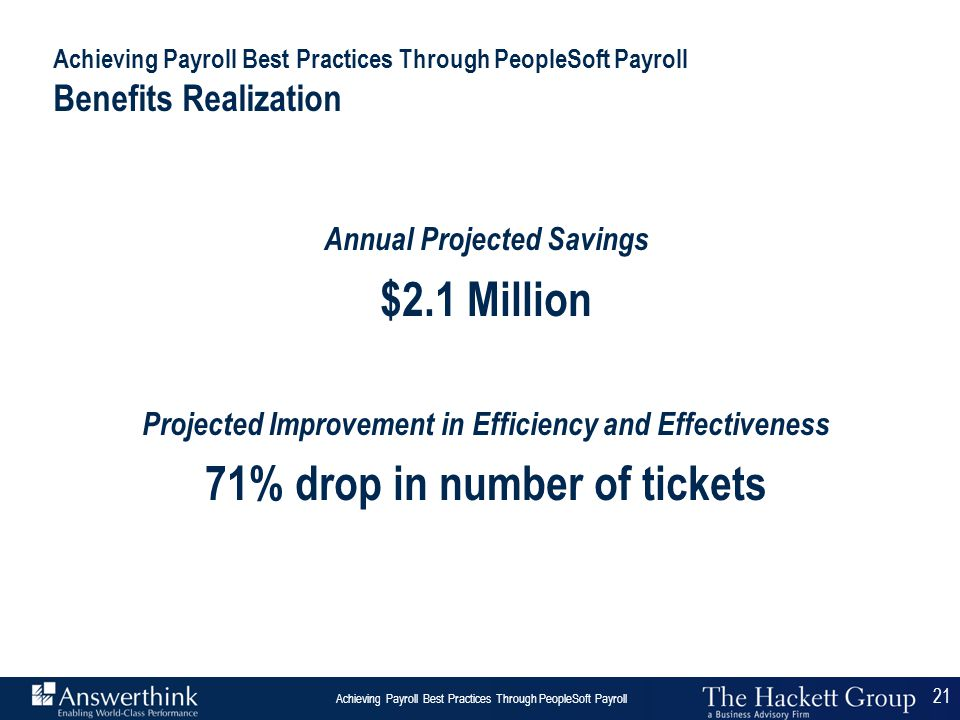 21 Answerthink Overview | June 30, 2003 Achieving Payroll Best Practices Through PeopleSoft Payroll 21 Achieving Payroll Best Practices Through People