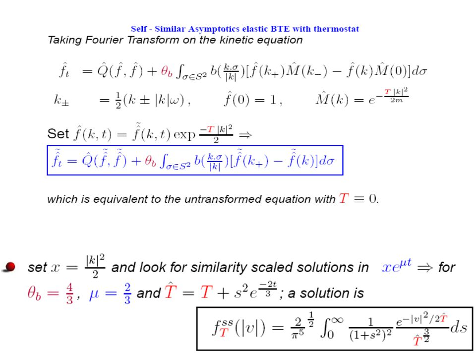 Explicit solutions an elastic model in the presence of a thermostat for d ≥ 2 Mixtures of colored particles (same mass β=1 ): (Bobylev & I.M.G., JSP'06) = Set β=1 = and set 1.Laplace transform of ψ: Transforms The eq.