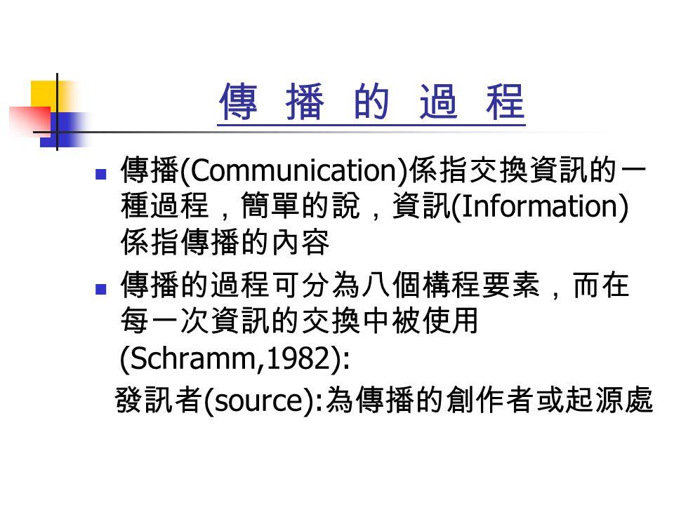 傳 播 的 過 程 傳播 (Communication) 係指交換資訊的一 種過程,簡單的說,資訊 (Information) 係指傳播的內容 傳播的過程可分為八個構程要素,而在 每一次資訊的交換中被使用 (Schramm,1982): 發訊者 (source): 為傳播的創作者或起源處