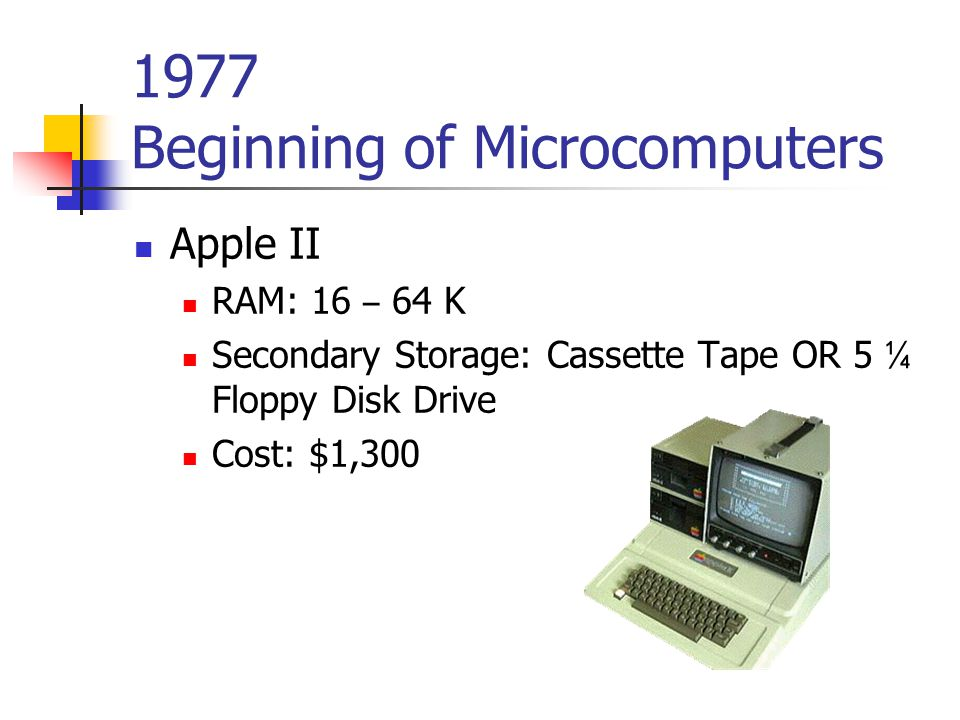 1977 Beginning of Microcomputers Apple II RAM: 16 – 64 K Secondary Storage: Cassette Tape OR 5 ¼ Floppy Disk Drive Cost: $1,300
