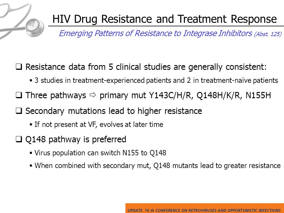 HIV Drug Resistance and Treatment Response Emerging Patterns of Resistance to Integrase Inhibitors (Abst.