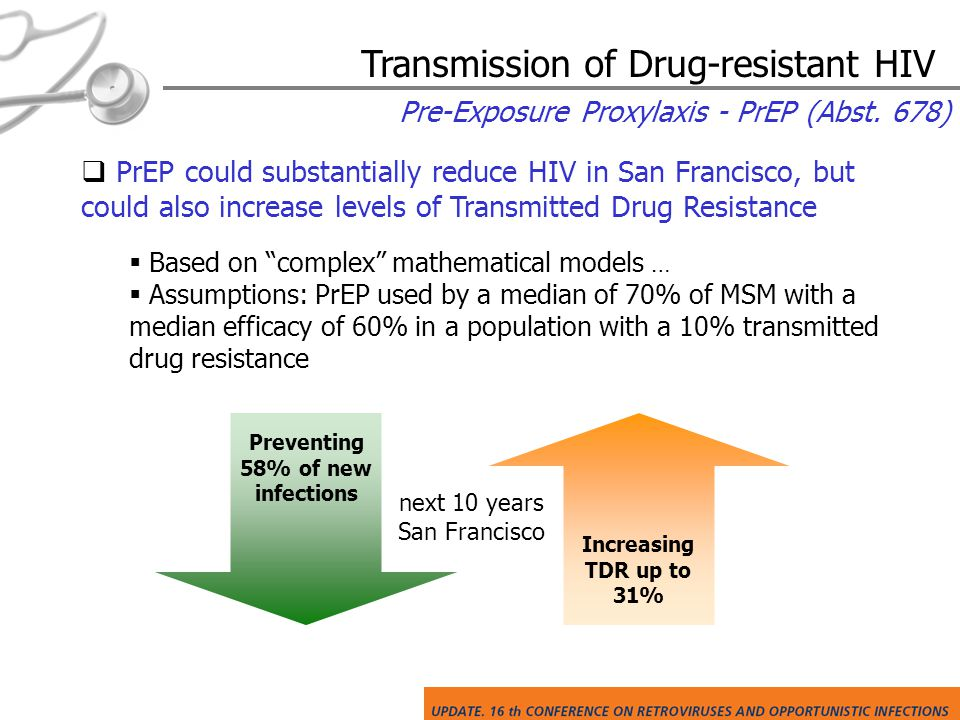 Pre-Exposure Proxylaxis - PrEP (Abst. 678)  PrEP could substantially reduce HIV in San Francisco, but could also increase levels of Transmitted Drug