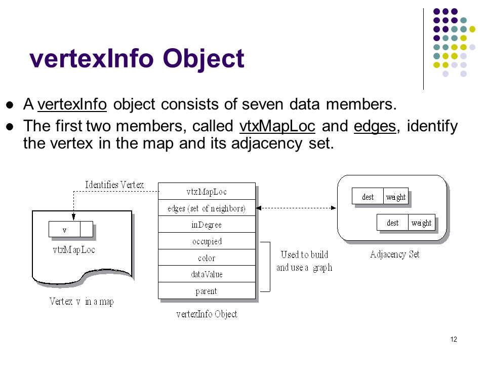 12 vertexInfo Object A vertexInfo object consists of seven data members.