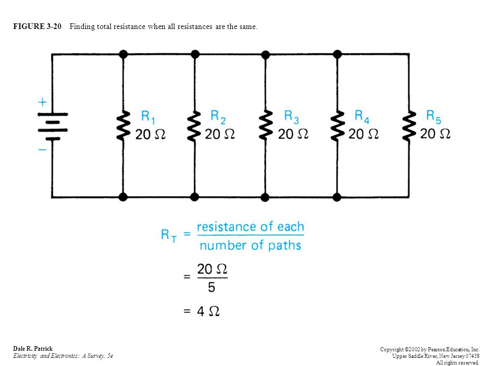 FIGURE 3-20 Finding total resistance when all resistances are the same.