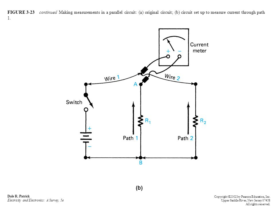FIGURE 3-23 continued Making measurements in a parallel circuit: (a) original circuit; (b) circuit set up to measure current through path 1.
