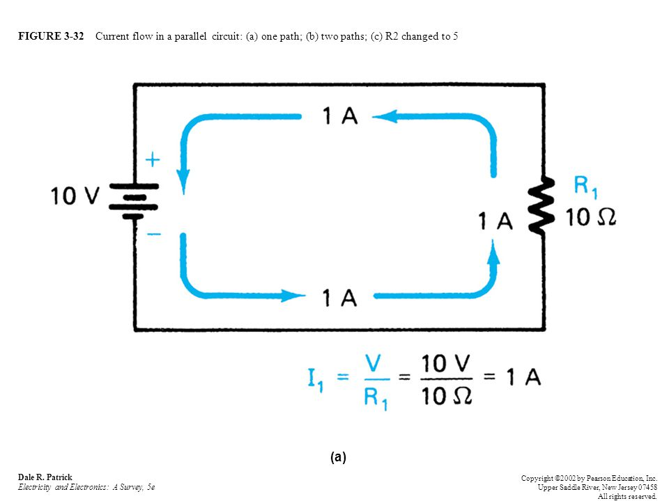 FIGURE 3-32 Current flow in a parallel circuit: (a) one path; (b) two paths; (c) R2 changed to 5 Dale R.