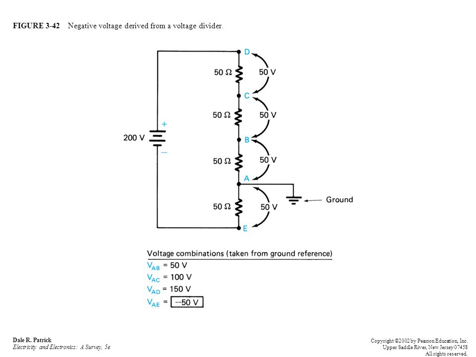FIGURE 3-42 Negative voltage derived from a voltage divider.
