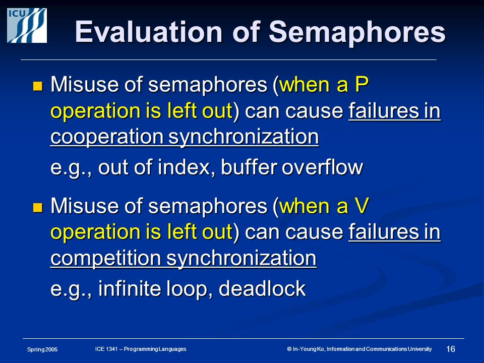 Spring 2005 16 ICE 1341 – Programming Languages © In-Young Ko, Information and Communications University Evaluation of Semaphores Misuse of semaphores (when a P operation is left out) can cause failures in cooperation synchronization Misuse of semaphores (when a P operation is left out) can cause failures in cooperation synchronization e.g., out of index, buffer overflow Misuse of semaphores (when a V operation is left out) can cause failures in competition synchronization Misuse of semaphores (when a V operation is left out) can cause failures in competition synchronization e.g., infinite loop, deadlock