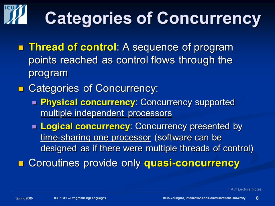 Spring 2005 8 ICE 1341 – Programming Languages © In-Young Ko, Information and Communications University Categories of Concurrency Thread of control: A sequence of program points reached as control flows through the program Thread of control: A sequence of program points reached as control flows through the program Categories of Concurrency: Categories of Concurrency: Physical concurrency: Concurrency supported multiple independent processors Physical concurrency: Concurrency supported multiple independent processors Logical concurrency: Concurrency presented by time-sharing one processor (software can be designed as if there were multiple threads of control) Logical concurrency: Concurrency presented by time-sharing one processor (software can be designed as if there were multiple threads of control) Coroutines provide only quasi-concurrency Coroutines provide only quasi-concurrency * AW Lecture Notes