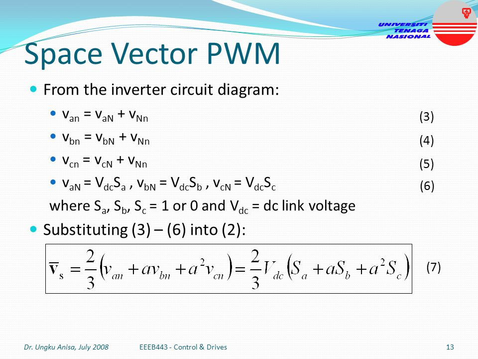 Space Vector PWM Stator voltage space vector can also be expressed in two-phase (d s q s frame).