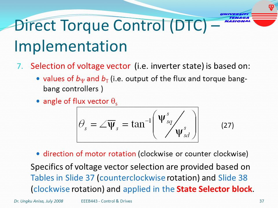Direct Torque Control (DTC) – Implementation Selection of voltage vector in DTC scheme: Counterclockwise Rotation Dr.