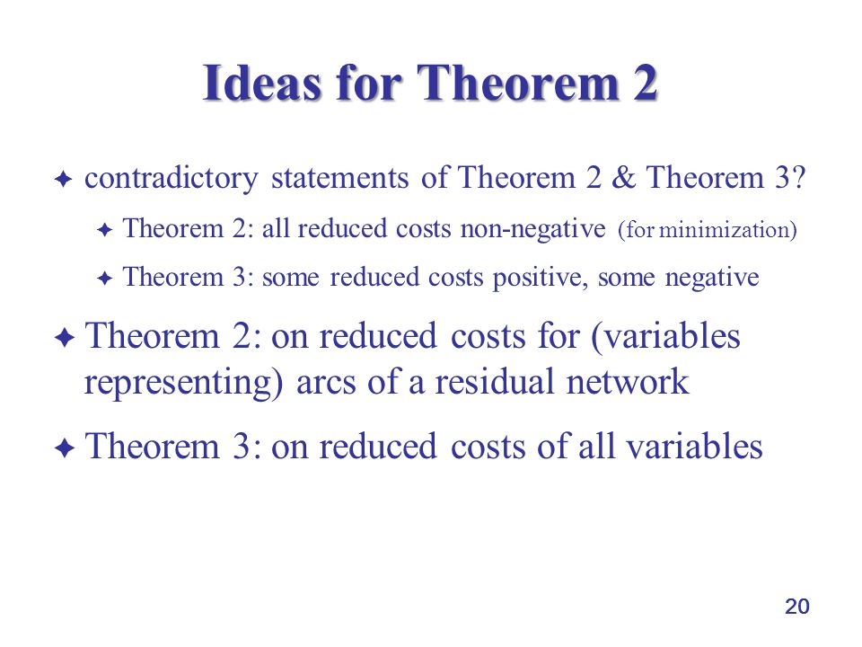 20 Ideas for Theorem 2  contradictory statements of Theorem 2 & Theorem 3?  Theorem 2: all reduced costs non-negative (for minimization)  Theorem 3