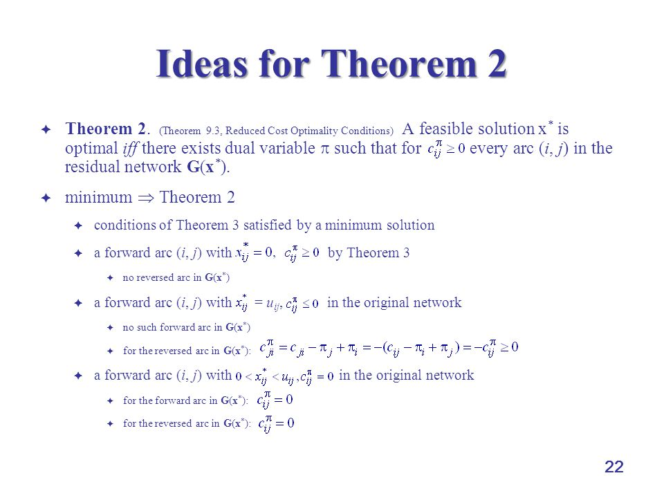22 Ideas for Theorem 2  Theorem 2. (Theorem 9.3, Reduced Cost Optimality Conditions) A feasible solution x * is optimal iff there exists dual variabl