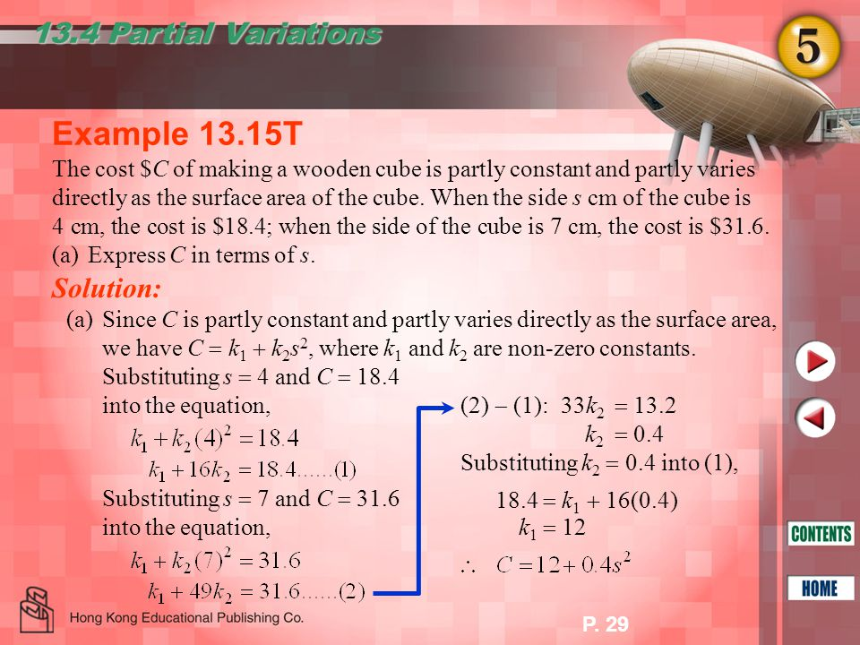 P. 29 Example 13.15T 13.4 Partial Variations The cost $C of making a wooden cube is partly constant and partly varies directly as the surface area of