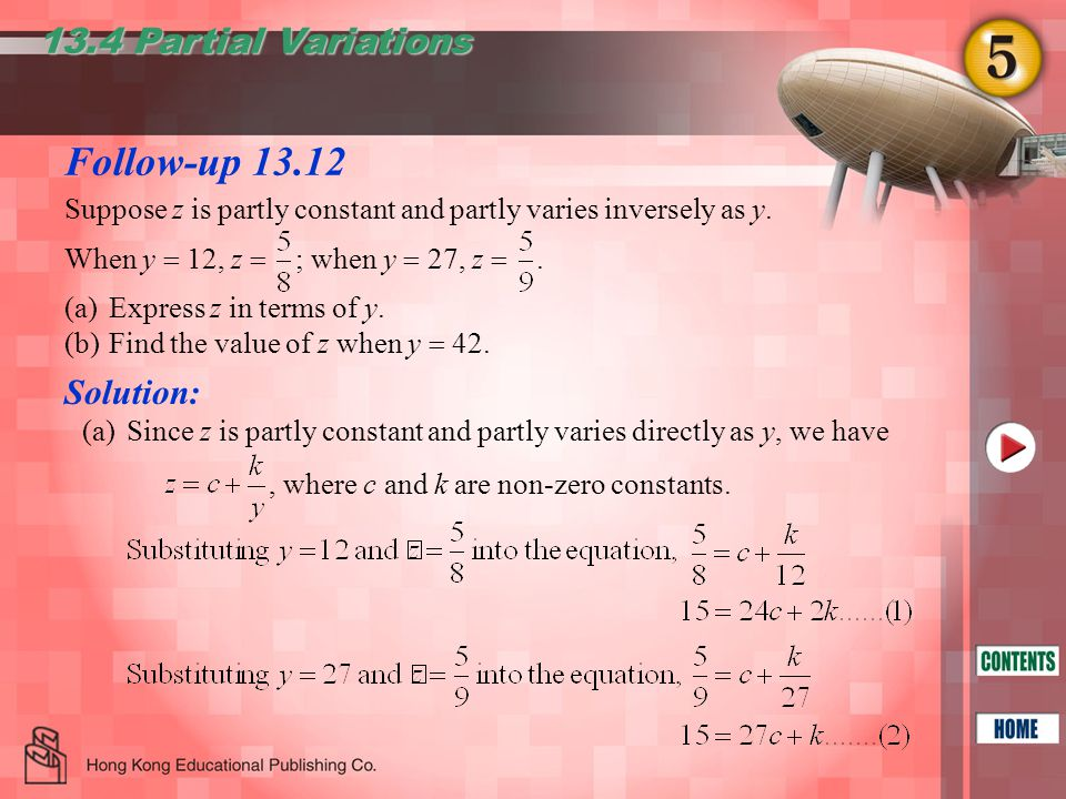 Follow-up 13.12 13.4 Partial Variations, where c and k are non-zero constants.