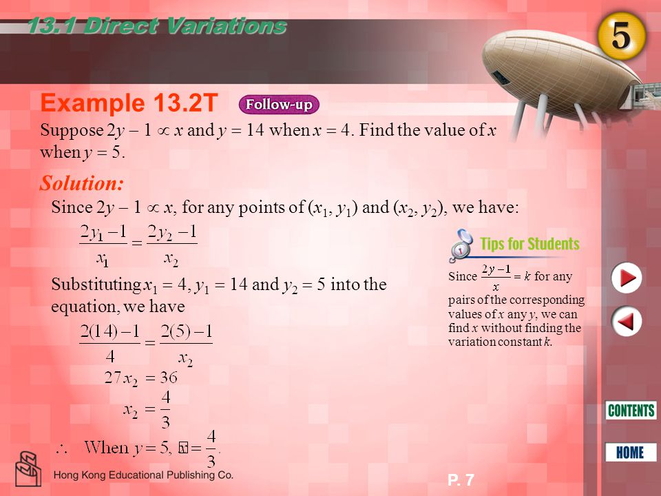 P.18 Example 13.8T Solution: 13.3 Joint Variations Suppose P varies jointly as u 2 and.