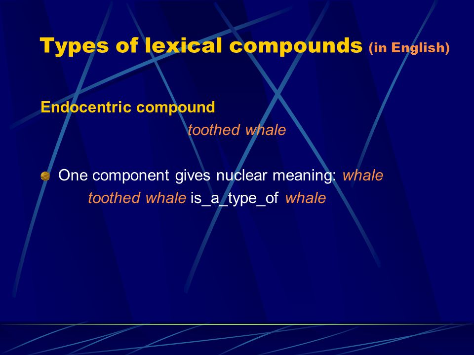 Types of lexical compounds (in English) Appositional compound folk song All components add nuclear meaning folk song is_a_type_of song folk song is_a_type_of folk