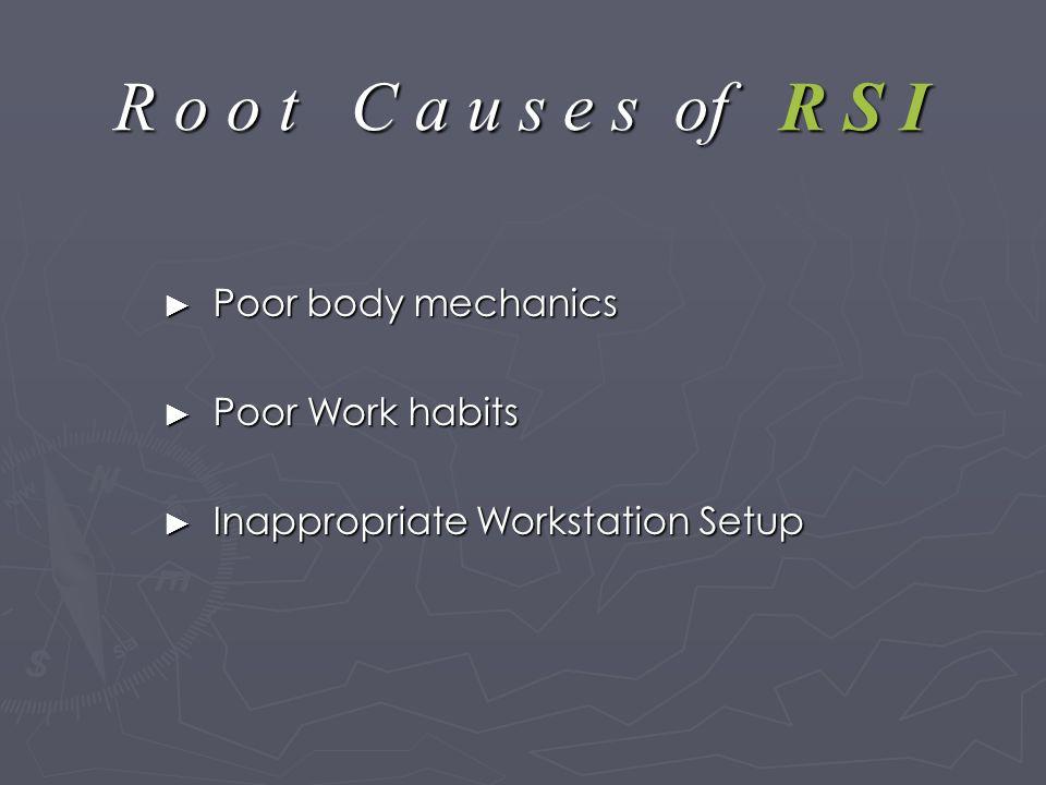 R o o t C a u s e s of R S I ► Poor body mechanics ► Poor Work habits ► Inappropriate Workstation Setup