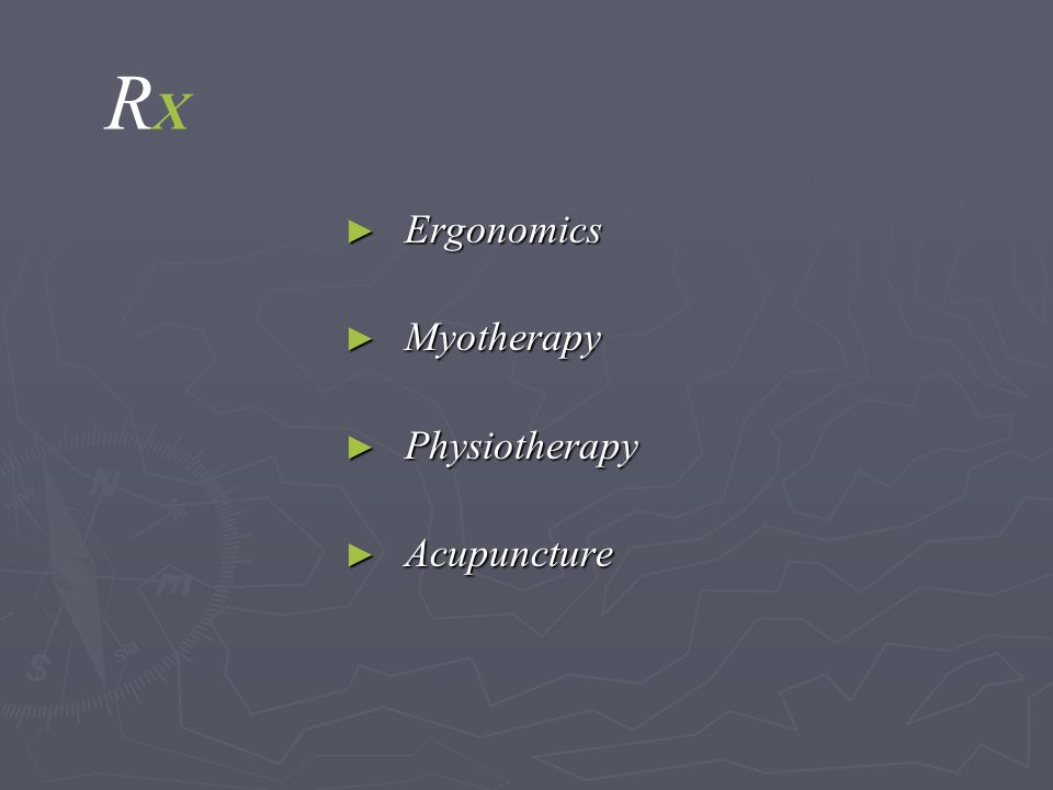 RXRX ► Ergonomics ► Myotherapy ► Physiotherapy ► Acupuncture