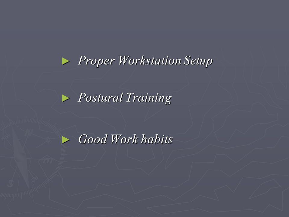 ► Proper Workstation Setup ► Postural Training ► Good Work habits