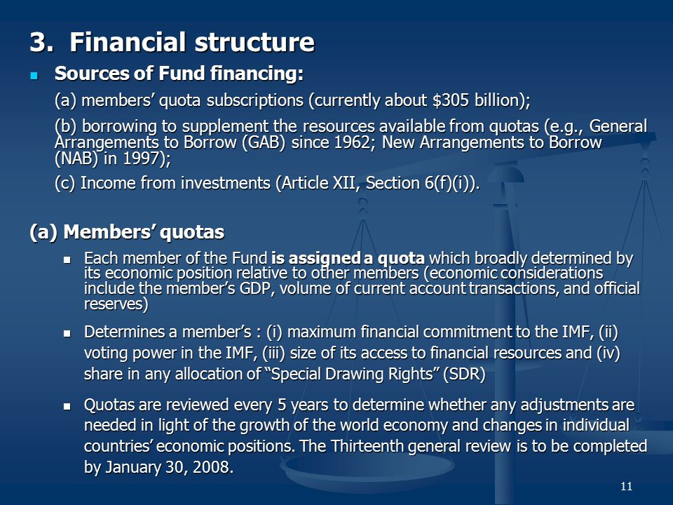 11 3. Financial structure Sources of Fund financing: Sources of Fund financing: (a) members' quota subscriptions (currently about $305 billion); (b) b