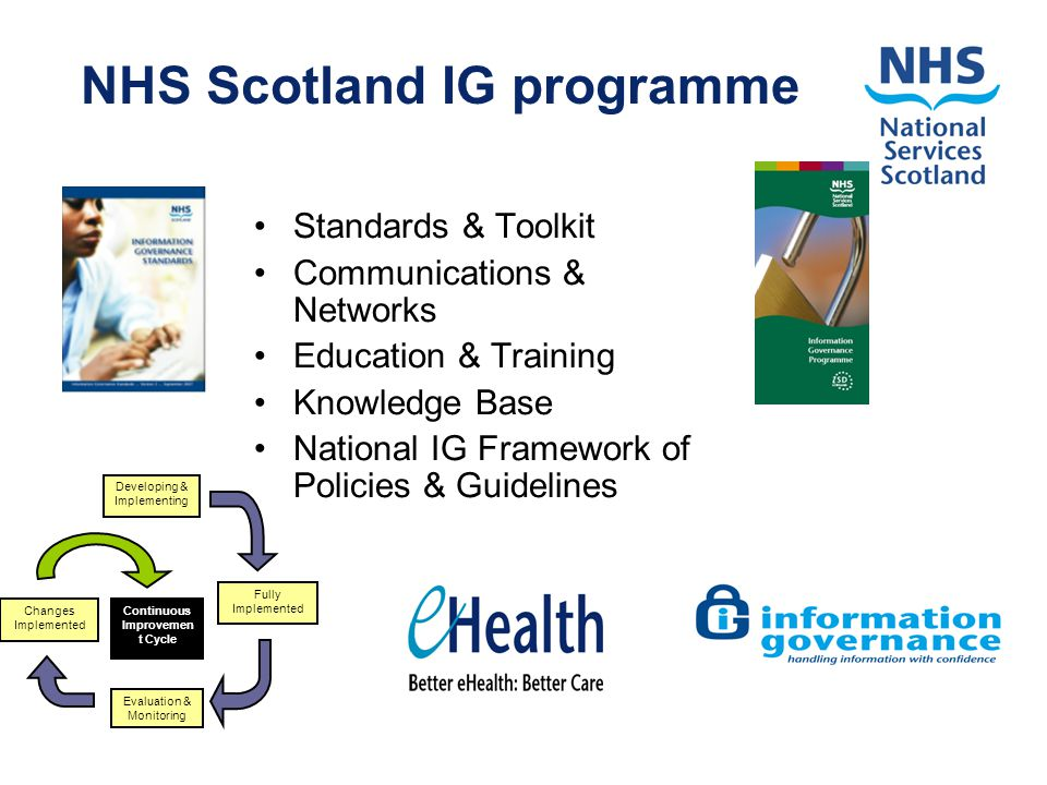 NHS Scotland IG programme Standards & Toolkit Communications & Networks Education & Training Knowledge Base National IG Framework of Policies & Guidelines Developing & Implementing Fully Implemented Evaluation & Monitoring Changes Implemented Continuous Improvemen t Cycle