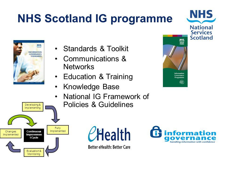 NHS Scotland IG programme Standards & Toolkit Communications & Networks Education & Training Knowledge Base National IG Framework of Policies & Guidel