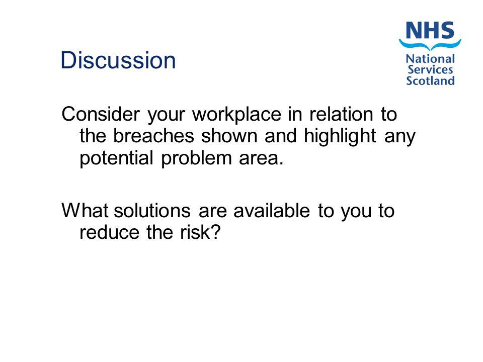 Discussion Consider your workplace in relation to the breaches shown and highlight any potential problem area.
