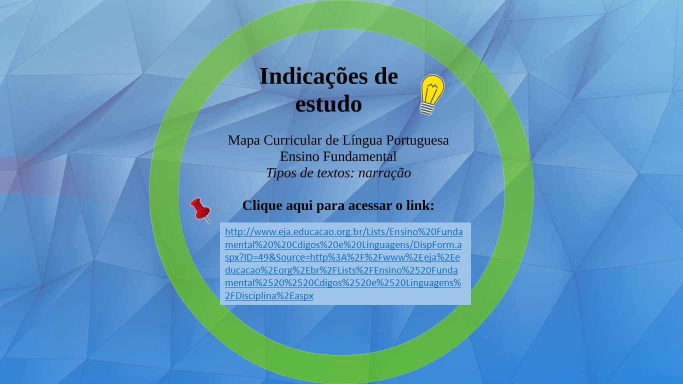 http://www.eja.educacao.org.br/Lists/Ensino%20Funda mental%20%20Cdigos%20e%20Linguagens/DispForm.a spx ID=49&Source=http%3A%2F%2Fwww%2Eeja%2Ee ducacao%2Eorg%2Ebr%2FLists%2FEnsino%2520Funda mental%2520%2520Cdigos%2520e%2520Linguagens% 2FDisciplina%2Easpx