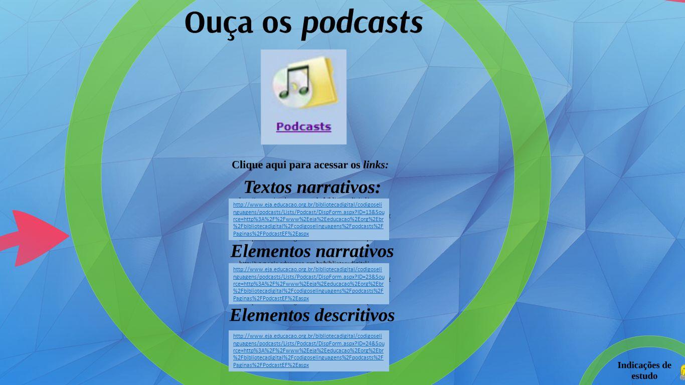 http://www.eja.educacao.org.br/bibliotecadigital/codigoseli nguagens/podcasts/Lists/Podcast/DispForm.aspx ID=13&Sou rce=http%3A%2F%2Fwww%2Eeja%2Eeducacao%2Eorg%2Ebr %2Fbibliotecadigital%2Fcodigoselinguagens%2Fpodcasts%2F Paginas%2FPodcastEF%2Easpx http://www.eja.educacao.org.br/bibliotecadigital/codigoseli nguagens/podcasts/Lists/Podcast/DispForm.aspx ID=23&Sou rce=http%3A%2F%2Fwww%2Eeja%2Eeducacao%2Eorg%2Ebr %2Fbibliotecadigital%2Fcodigoselinguagens%2Fpodcasts%2F Paginas%2FPodcastEF%2Easpx http://www.eja.educacao.org.br/bibliotecadigital/codigoseli nguagens/podcasts/Lists/Podcast/DispForm.aspx ID=24&Sou rce=http%3A%2F%2Fwww%2Eeja%2Eeducacao%2Eorg%2Ebr %2Fbibliotecadigital%2Fcodigoselinguagens%2Fpodcasts%2F Paginas%2FPodcastEF%2Easpx