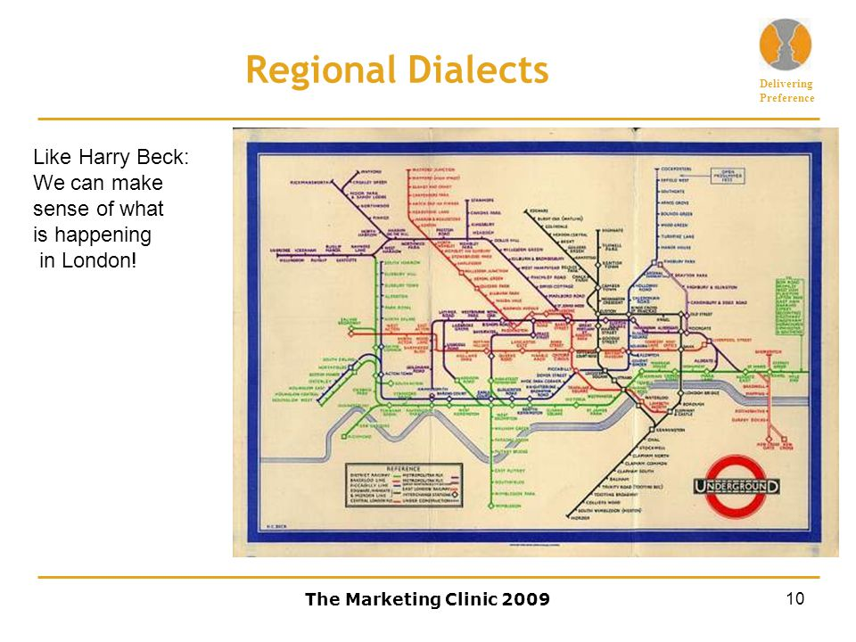 Delivering Preference The Marketing Clinic 200910 Regional Dialects Like Harry Beck: We can make sense of what is happening in London!