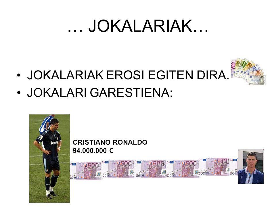 … JOKALARIAK… JOKALARIAK EROSI EGITEN DIRA. JOKALARI GARESTIENA: CRISTIANO RONALDO 94.000.000 €
