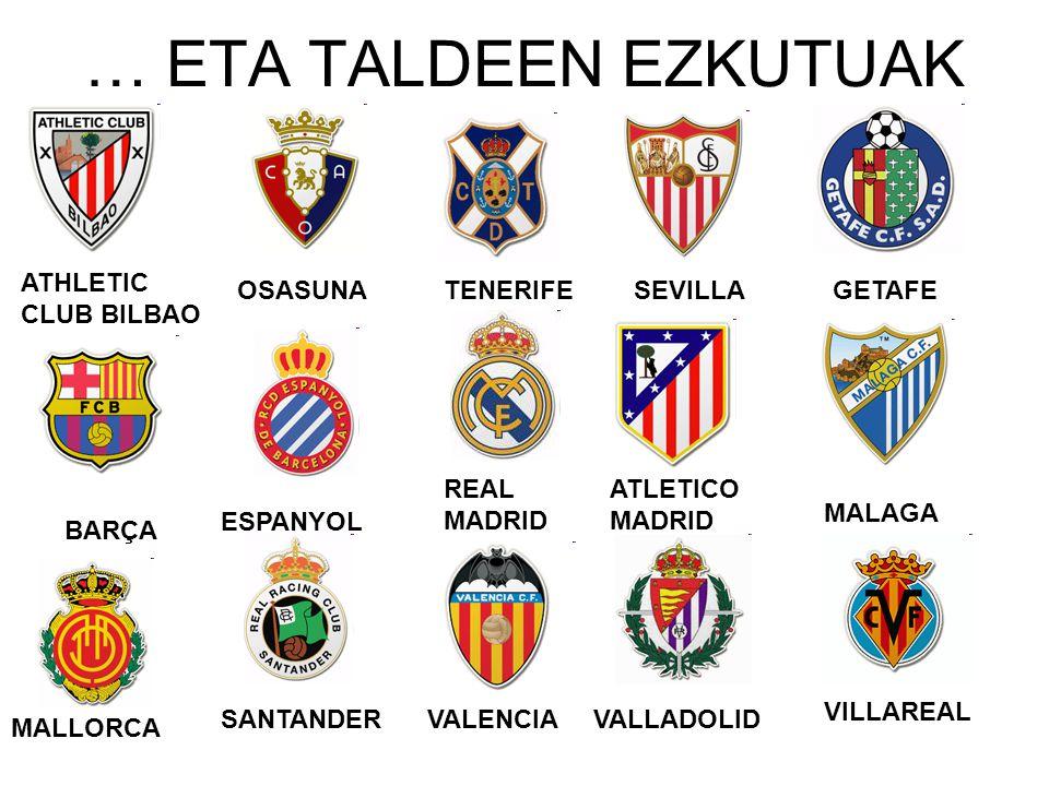 … ETA TALDEEN EZKUTUAK ATHLETIC CLUB BILBAO OSASUNA BARÇA ESPANYOL REAL MADRID TENERIFESEVILLAGETAFE ATLETICO MADRID MALAGA MALLORCA VALLADOLIDVALENCI