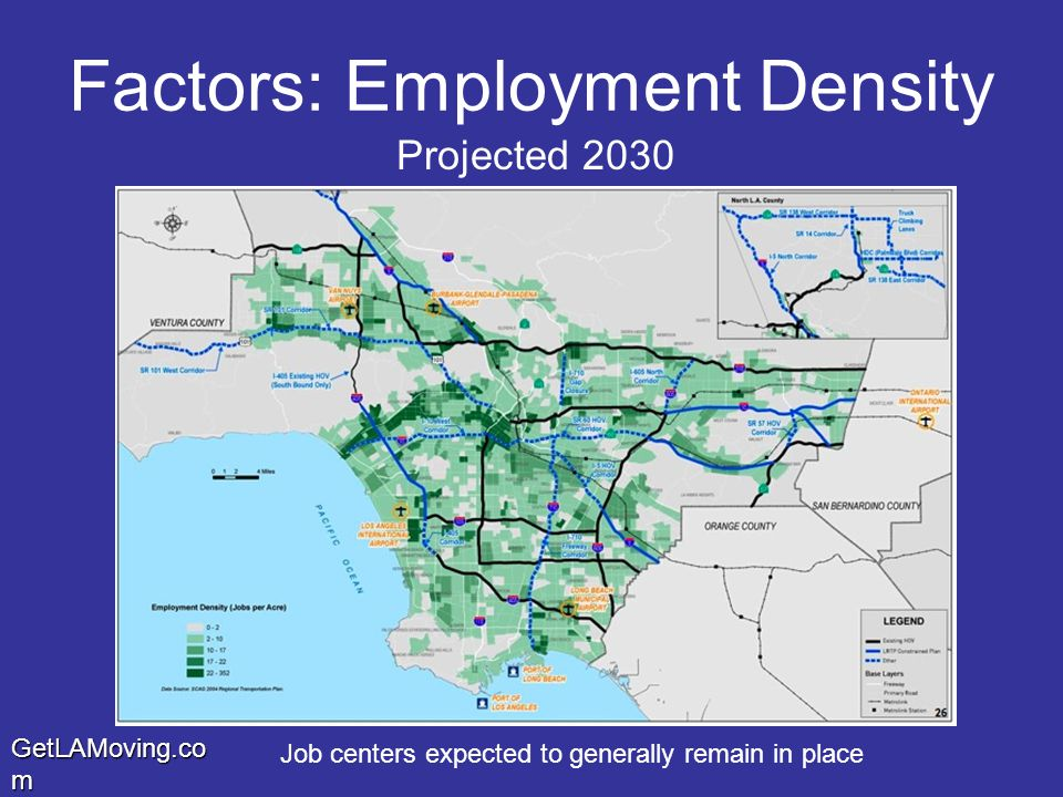 GetLAMoving.co m Factors: Employment Density Job centers expected to generally remain in place Projected 2030
