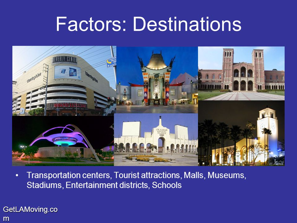 GetLAMoving.co m Factors: Destinations Transportation centers, Tourist attractions, Malls, Museums, Stadiums, Entertainment districts, Schools