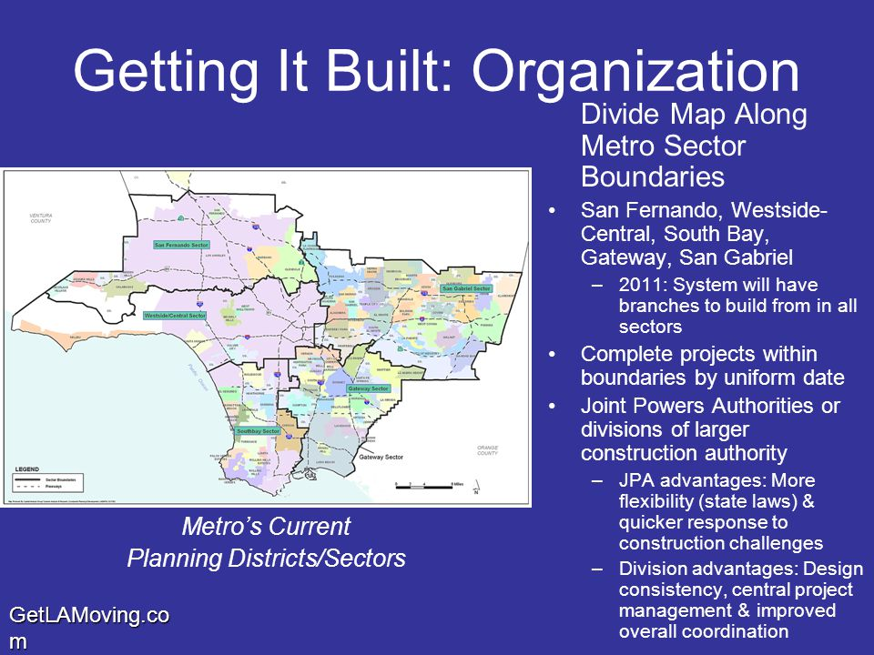GetLAMoving.co m Getting It Built: Organization Divide Map Along Metro Sector Boundaries San Fernando, Westside- Central, South Bay, Gateway, San Gabriel –2011: System will have branches to build from in all sectors Complete projects within boundaries by uniform date Joint Powers Authorities or divisions of larger construction authority –JPA advantages: More flexibility (state laws) & quicker response to construction challenges –Division advantages: Design consistency, central project management & improved overall coordination Metro's Current Planning Districts/Sectors