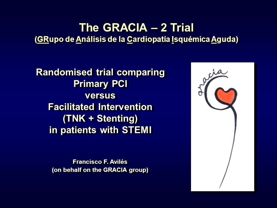 1 The GRACIA – 2 Trial (GRupo de Análisis de la Cardiopatía Isquémica Aguda) Randomised trial comparing Primary PCI versus Facilitated Intervention (T