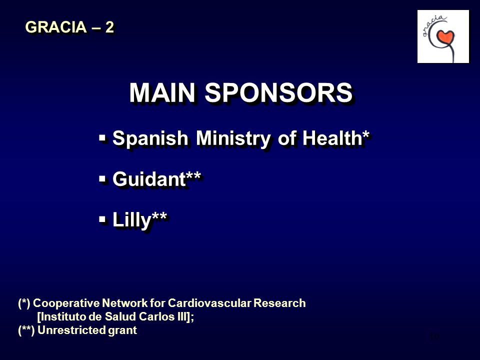 10 MAIN SPONSORS  Spanish Ministry of Health*  Guidant**  Lilly** MAIN SPONSORS  Spanish Ministry of Health*  Guidant**  Lilly** GRACIA – 2 (*)