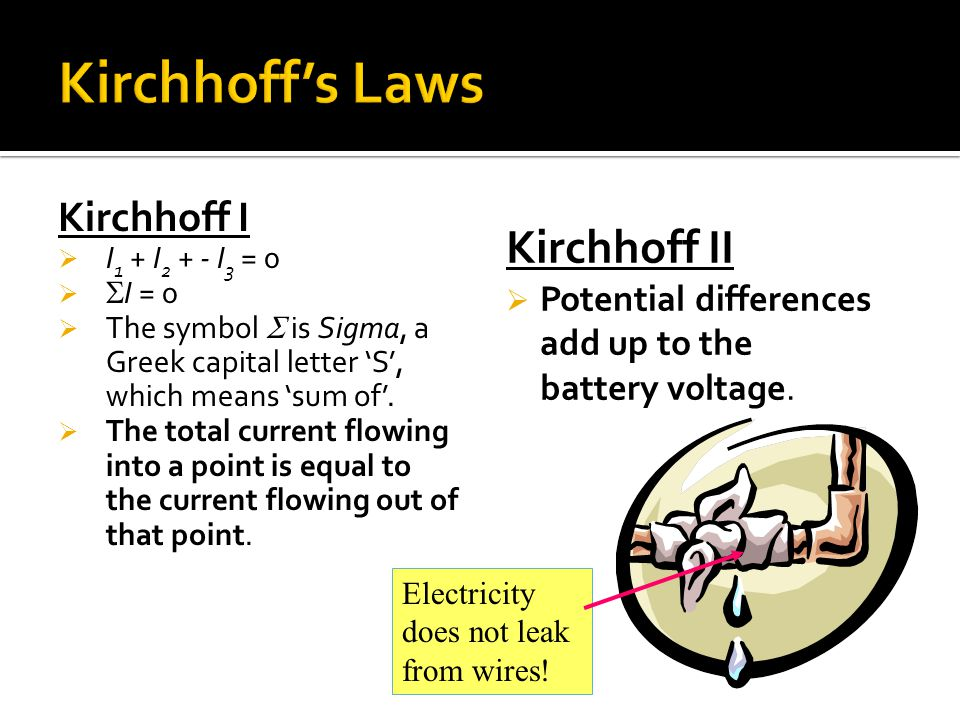 Kirchhoff I  I 1 + I 2 + - I 3 = 0   I = 0  The symbol  is Sigma, a Greek capital letter 'S', which means 'sum of'.  The total current flowing i