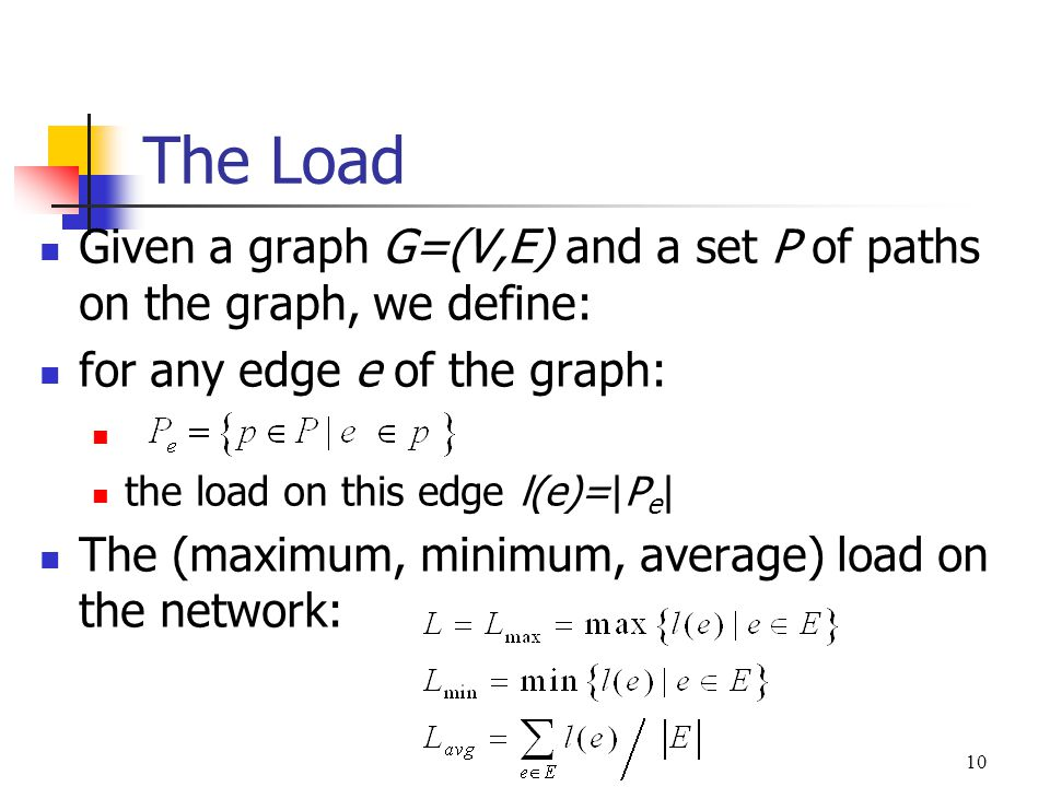 10 The Load Given a graph G=(V,E) and a set P of paths on the graph, we define: for any edge e of the graph: the load on this edge l(e)=|P e | The (ma
