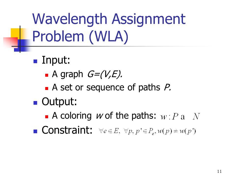 11 Wavelength Assignment Problem (WLA) Input: A graph G=(V,E).