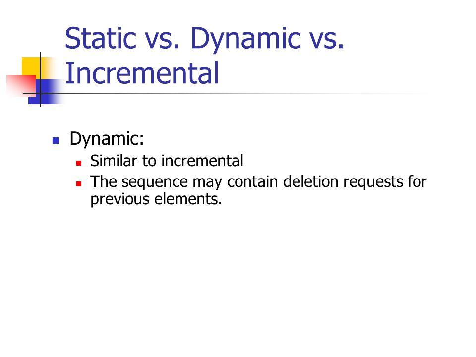 Static vs.Dynamic vs.