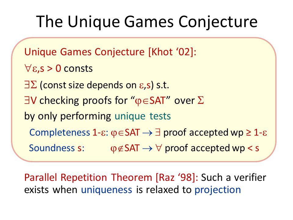 The Unique Games Conjecture Unique Games Conjecture [Khot '02]: ,s > 0 consts  (const size depends on ,s) s.t.